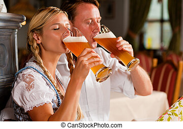 夫婦, bavarian, 喝酒, 小麥, 啤酒