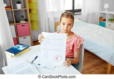 失敗, 學校女孩, 家, 悲哀, 學生, 測試