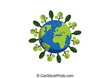 套間, 卡通, trees.conceptual, 矢量, 地球, 設計, 風格, 插圖