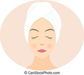 套間, 婦女, 毛巾, 插圖, 矢量, 設計, spa.