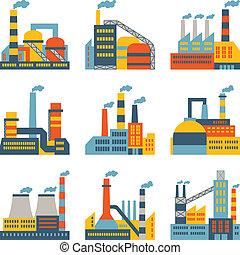 套間, 建筑物, 工業, 圖象, 工廠, 裝置設計, style.