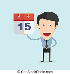 套間, 插圖, 矢量, 設計, 日曆, 卡通