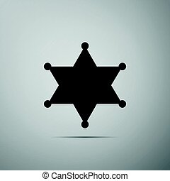 套間, 星, 郡長, 灰色, 插圖, 背景。, 矢量, 六線形, 徽章, 圖象