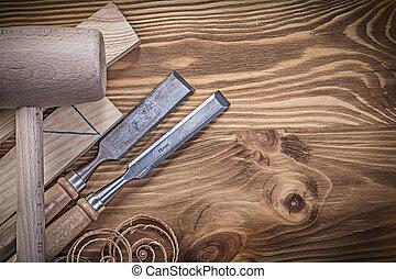 套間, 木制, 葡萄酒, 鑿子, 磚, 錘子, 計劃, 伍德片