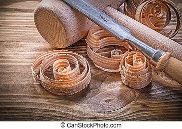 套間, 木槌, 木制, 葡萄酒, 鑿子, 木頭, 板, 刨, 捲曲