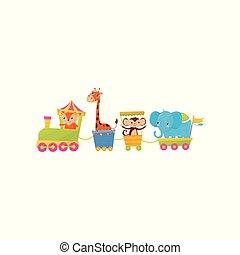 套間, 矢量, 猴子, 鮮艷, 問候, train., 或者, theme., 動物園, characters., s, 書, 設計, 旅行, 動物, 大象, 長頸鹿, 卡通, 孩子, 卡片, 狐狸