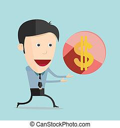 套間, 美元, 插圖, 矢量, 設計, 卡通