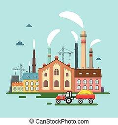 套間, 老, 工廠, tractor., smoke., 矢量, 設計, retro, 煙囪