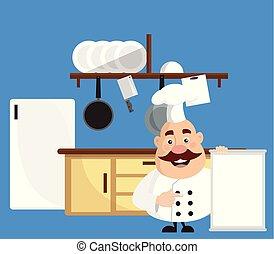 套間, 菜單, 肥胖, 廚師, 矢量, 設計, 插圖, 卡通, 廚房