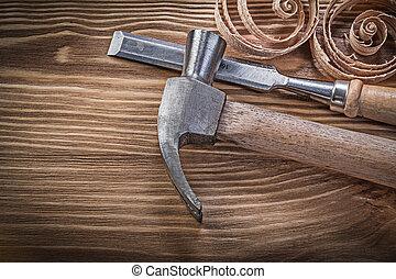 套間, 葡萄酒, 鑿子, 刨, 板, 爪, 木頭, 錘子, 捲曲