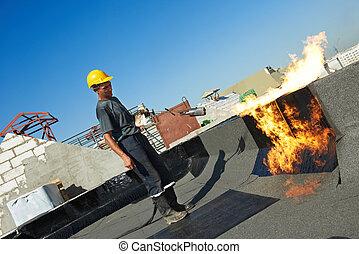 套間, 覆蓋物, 感到, 屋頂, 屋頂, 工作, 修理