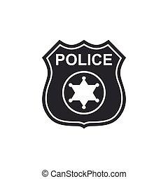 套間, 警察, 郡長, isolated., 徵候。, 插圖, 矢量, 圖象, 徽章, design.