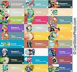 套間, 選擇, 標題, infographic, 設計, 旗幟