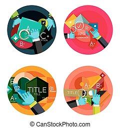 套間, 集合, 選擇, 概念, 設計, infographics, 環繞