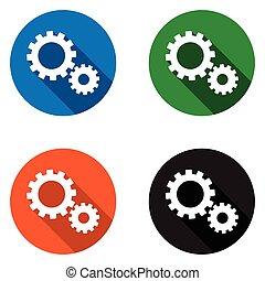 套間, 集合, 齒輪, 鮮艷, 圖象, 矢量