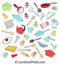 套間, 集合, illustration., 盤, 標籤, 矢量, style.