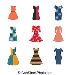 套間, 集合, illustration., 矢量, 女性, 衣服, 風格