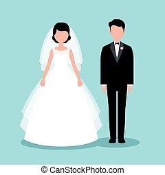 套間, 風格, 充分, newlyweds, 新郎, 插圖, 新娘, 長度, 矢量, 股票