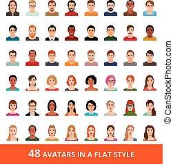 套間, 風格, 集合, 人, avatars, 大, 矢量, 婦女