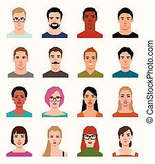 套間, 風格, 集合, 人, avatars, 矢量