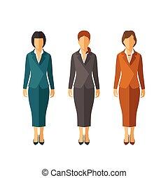 套間, 風格, 集合, 衣服, 矢量, businesswomen