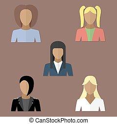 套間, 風格, 集合, avatars, 婦女
