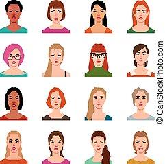 套間, 風格, 集合, avatars, 矢量, 婦女