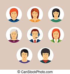 套間, 風格, 集合, avatars, 矢量, 字符