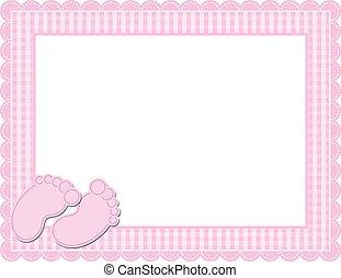 女嬰, 方格花布, 框架
