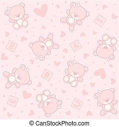 女嬰, seamless, 熊, teddy