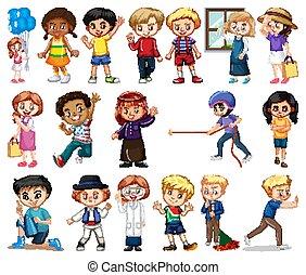 女孩, 不同, 大, 背景, 集合, 男孩, 白色, 活動