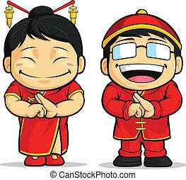 女孩, 卡通, 漢語, &, 男孩