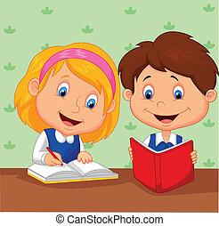 女孩, 卡通, 男孩, 一起, 研究