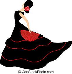 女孩, 吉普賽舞, 迷, dancer., 西班牙語