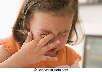 女孩, 在室內, 年輕, 哭泣