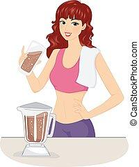 女孩, 巧克力, 蛋白質搖動