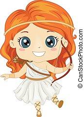 女孩, 希臘的女神, 服裝, artemis, 孩子