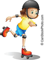 女孩, 年輕, rollerskating