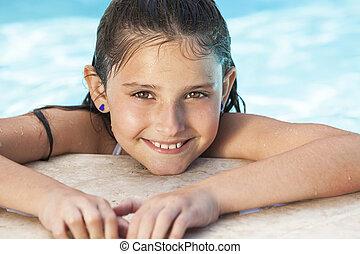 女孩, 愉快, 游泳, 孩子, 池