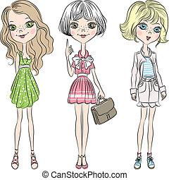 女孩, 時裝, 漂亮, 集合, 矢量, 美麗
