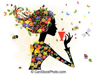女孩, 時裝, 花