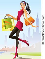 女孩, 時裝, 購物