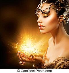 女孩, 時裝, portrait., 构成, 黃金
