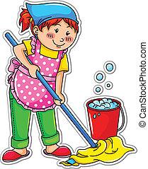 女孩, 清掃
