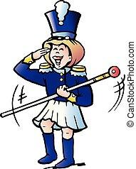 女孩, 矢量, tamburmajor, 卡通, 插圖