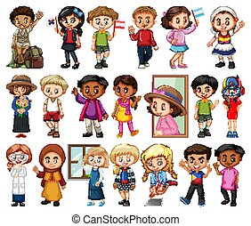 女孩, 背景, 白色, 集合, 男孩, 大, 活動, 不同