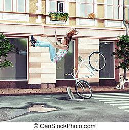 女孩, 落下, 自行車, 她, 脫開