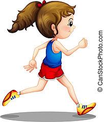 女孩, 跑, 年輕