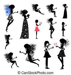 女孩, 集合, 仙女