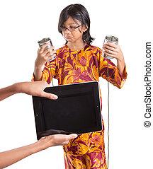 女孩, 電腦, 年輕, 片劑